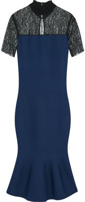 Sachin + Babi Fluted Chantilly Lace-paneled Stretch-knit Dress