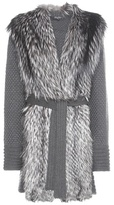 Salvatore Ferragamo Fur-trimmed Knitted Virgin Wool Coat