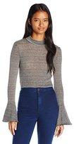 XOXO Women's Striped Mockneck Cropped Bell Sleeve Sweater