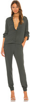 Monrow Crepe Long Sleeve Jumpsuit in Olive. - size S (also in )