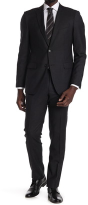 John Varvatos Collection Black/White Micro Print Two Button Notch Lapel Wool Tailored Fit Suit