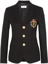 Saint Laurent Embellished Wool-felt Blazer - Black