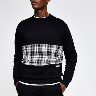 River Island Undefined black check slim fit sweatshirt