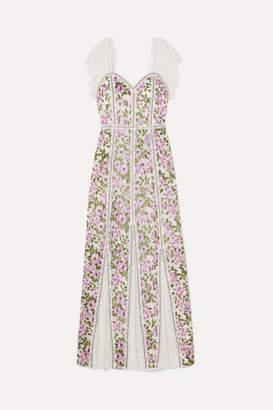 Alice + Olivia Devina Lace-paneled Embroidered Tulle Maxi Dress - White