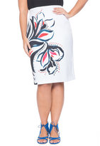 ELOQUII Plus Size Placed Print Pencil Skirt