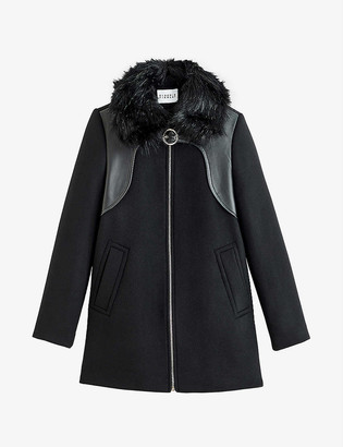 Claudie Pierlot Graffite wool leather and faux-fur coat