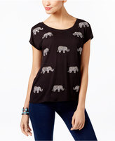 INC International Concepts Embellished Elephant-Print T-Shirt, Only at Macy's