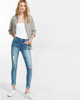 Express petite mid rise frayed stretch+ performance cropped jean leggings