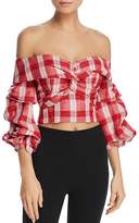 Bardot Off-the-Shoulder Plaid Cropped Top - 100% Exclusive