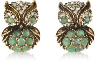 Alcozer & J Green Owl Earrings w/Stones