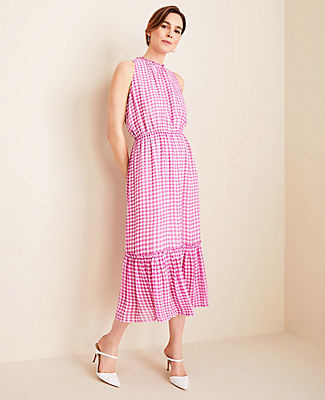 Ann Taylor Gingham Midi Dress