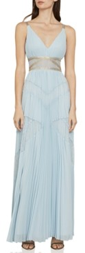 BCBGMAXAZRIA Pleated Lace-Inset Gown