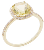 Meira T 14K Yellow Gold, Citrine & 0.19 Total Ct. Diamond Ring