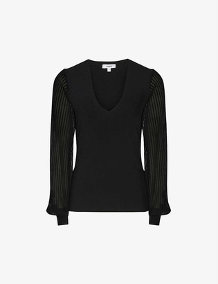 Reiss Savannah V-neck knitted top