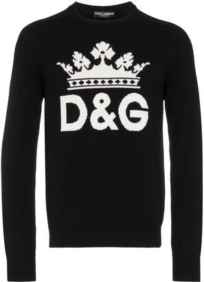 Dolce & Gabbana Intarsia Logo Cashmere Sweater