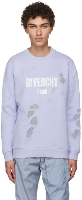 Givenchy Blue Distressed Logo Sweatshirt