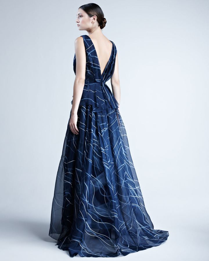 Carolina Herrera Hand-Painted Silk Organza Gown