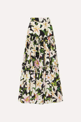 Dolce & Gabbana Tiered Floral-print Cotton-poplin Maxi Skirt - Black