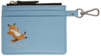 MAISON KITSUNÉ Blue Chillax Fox Zipped Card Holder