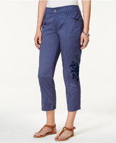 Style&Co. Style & Co Floral-Embroidered Capri Pants, Created for Macy's