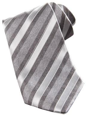 Stefano Ricci Wide Textured Stripe Silk Tie, Grey