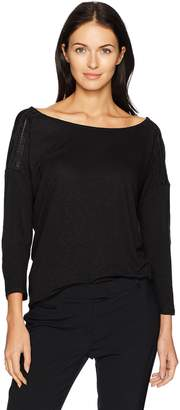 NYDJ Women's Knit Blouse with Faux Leather Trim