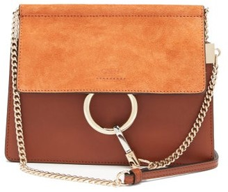Chloé Faye Small Leather And Suede Cross-body Bag - Brown