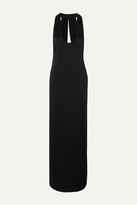Saint Laurent Open-back Satin Gown - Black