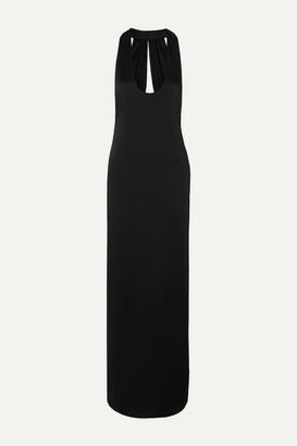 Saint Laurent Open-back Satin Gown - Black