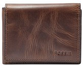 Fossil Men's 'Derrick' Leather Flip Trifold Wallet - Brown