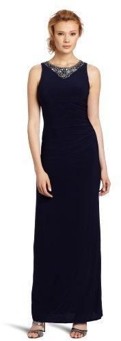 Eliza J Women's 1 Piece Sleevless Beaded Neck Side Gathered Long Sheath Dress