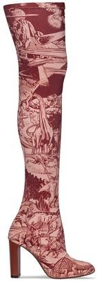 Neous Space Print Thigh-High Boots
