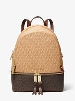 MICHAEL Michael Kors Rhea Medium Two-Tone Logo and Leather Backpack