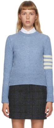 Thom Browne Blue Shetland Wool 4-Bar Sweater