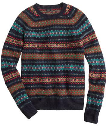 J.Crew Alpine Fair Isle sweater in deep navy