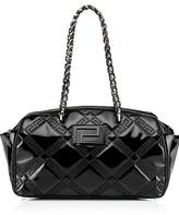 Small Patent Shoulder Bag with Chain Handle