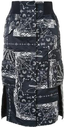 Sacai Abstract Print Pencil Skirt