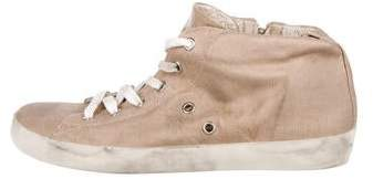 Leather Crown Round-Toe High-Top Sneakers