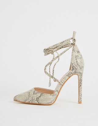 Public Desire Aries natural snake ankle tie heeled shoes-Beige