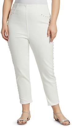 Joan Vass, Plus Size Studded Stretch Jeans