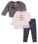 Little Lass Baby's Three-Piece Moto Jacket, Ruffled Top, & Star-Print Leggings Set