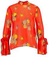 Warehouse VICTORIA FLORAL TIE BACK Blouse orange