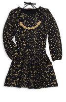 Imoga Big Girls' Mini Gold Star Print Dress & Necklace