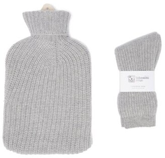 Johnstons of Elgin Cashmere Hot Water Bottle Cover And Socks Set - Light Grey