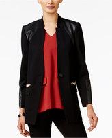 Alfani Petite Mixed-Media Blazer, Only at Macy's