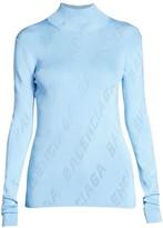Balenciaga Pointelle Logo Knit Turtleneck