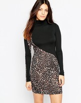 French Connection Electric Leopard High Neck Dress In Chestnut