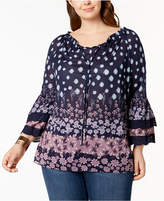 Style&Co. Style & Co Plus Size Mixed-Print Ruffled Sleeve Swing Off-The-Shoulder Top, Created for Macy's