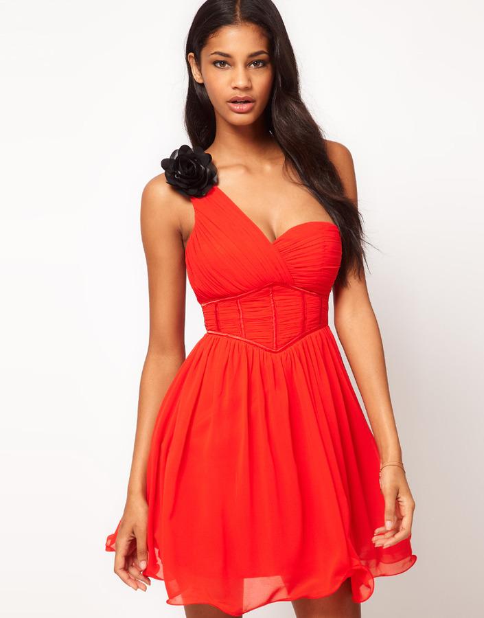 Little Mistress Corseted Waist One Shoulder Dress