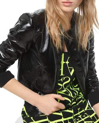 MICHAEL Michael Kors Faux Patent-Leather Bomber Jacket